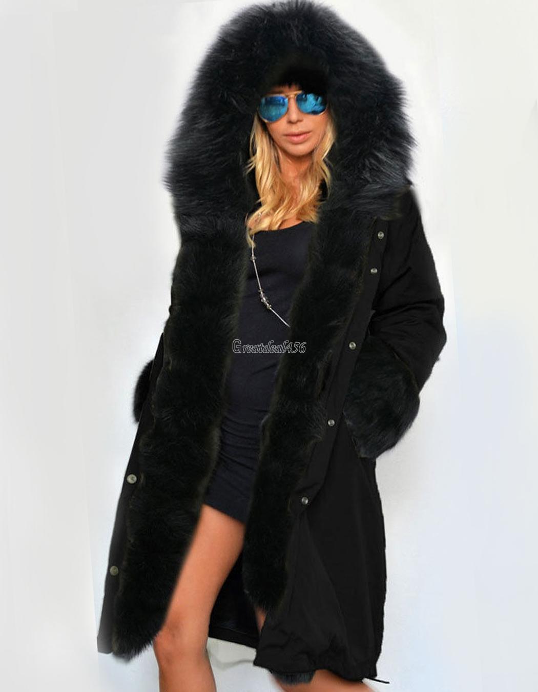 2016 Women&amp039s Warm Winter Faux Fur Hooded Parka Coat Overcoat