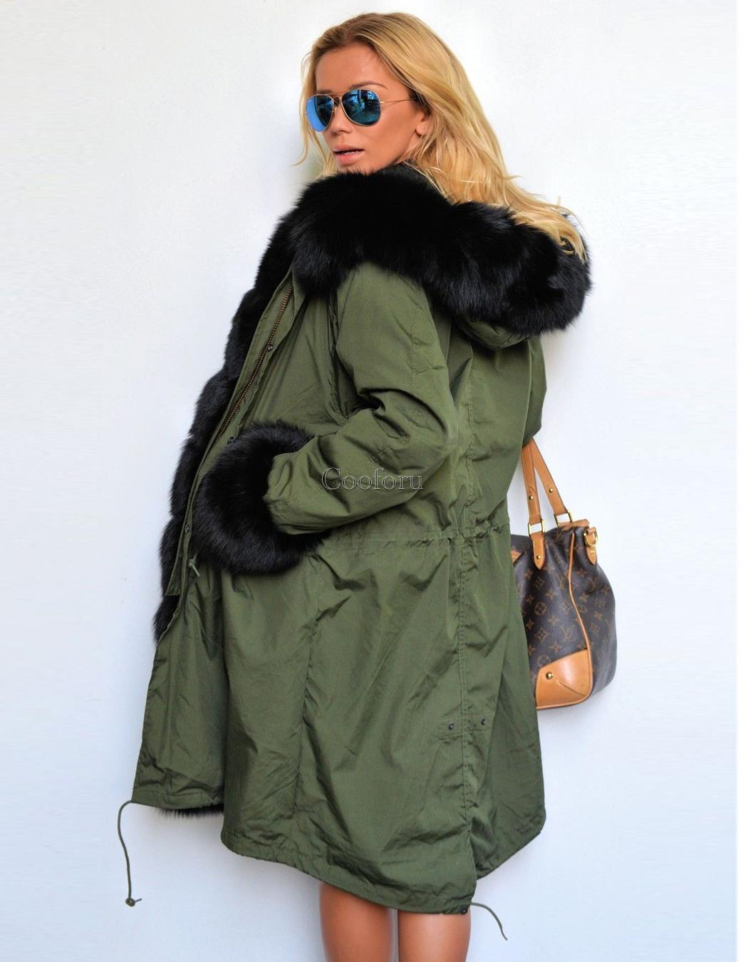 2016 Women's Warm Winter Faux Fur Hooded Parka Coat Overcoat ...