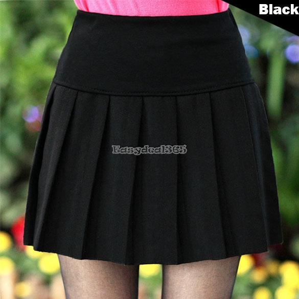 Women's Solid Mini Skirt High Waist Skater Flared Pleated ...