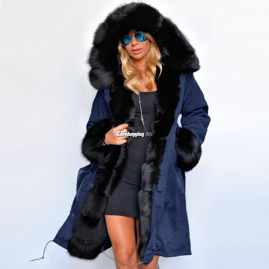 Luxury Women Faux Fur Coat Casual Hood Parka Ladies Long Trench