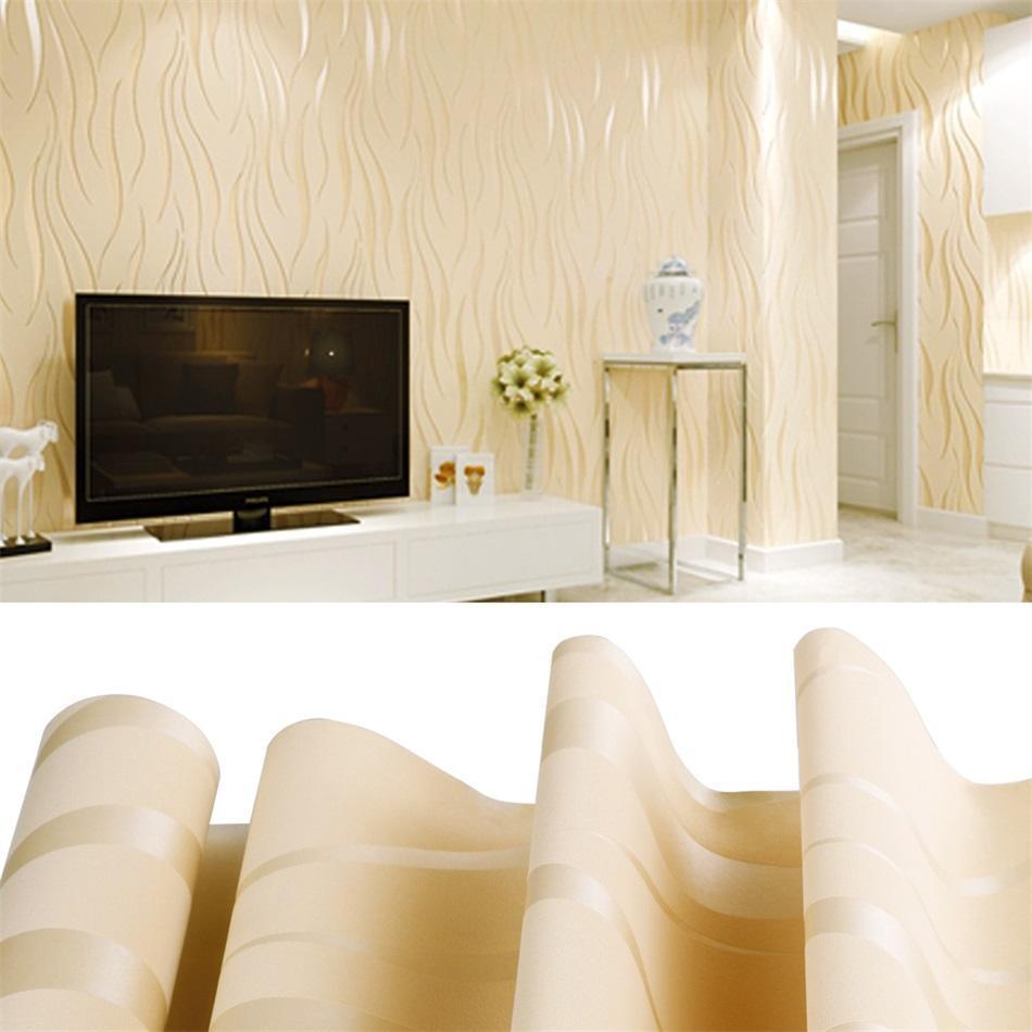 Textured Wallpaper Modern Non-Woven 3D Wave Pattern Living room ...