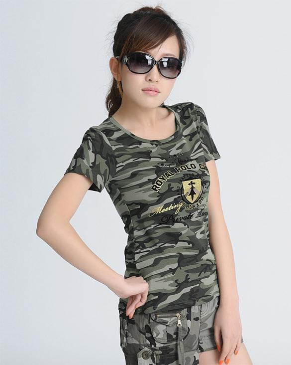 Women s Army CAMO Clothes Short Sleeve T-Shirt Camouflage Clothes