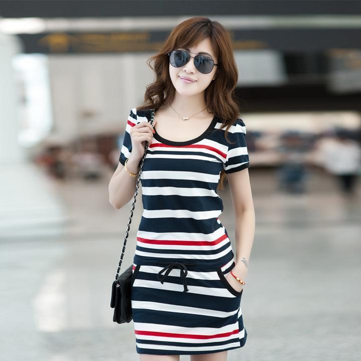 Hot Women's Summer Cotton Short Sleeve Crew Neck Stripe Casual Tunic Mini Dress