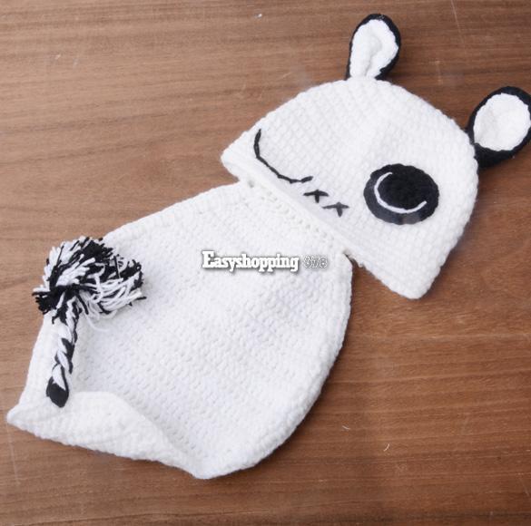 0 9 M Beanie Hat Cap Baby Girl Cloth Romper Panda Knit Photo Prop Outfit ES9P