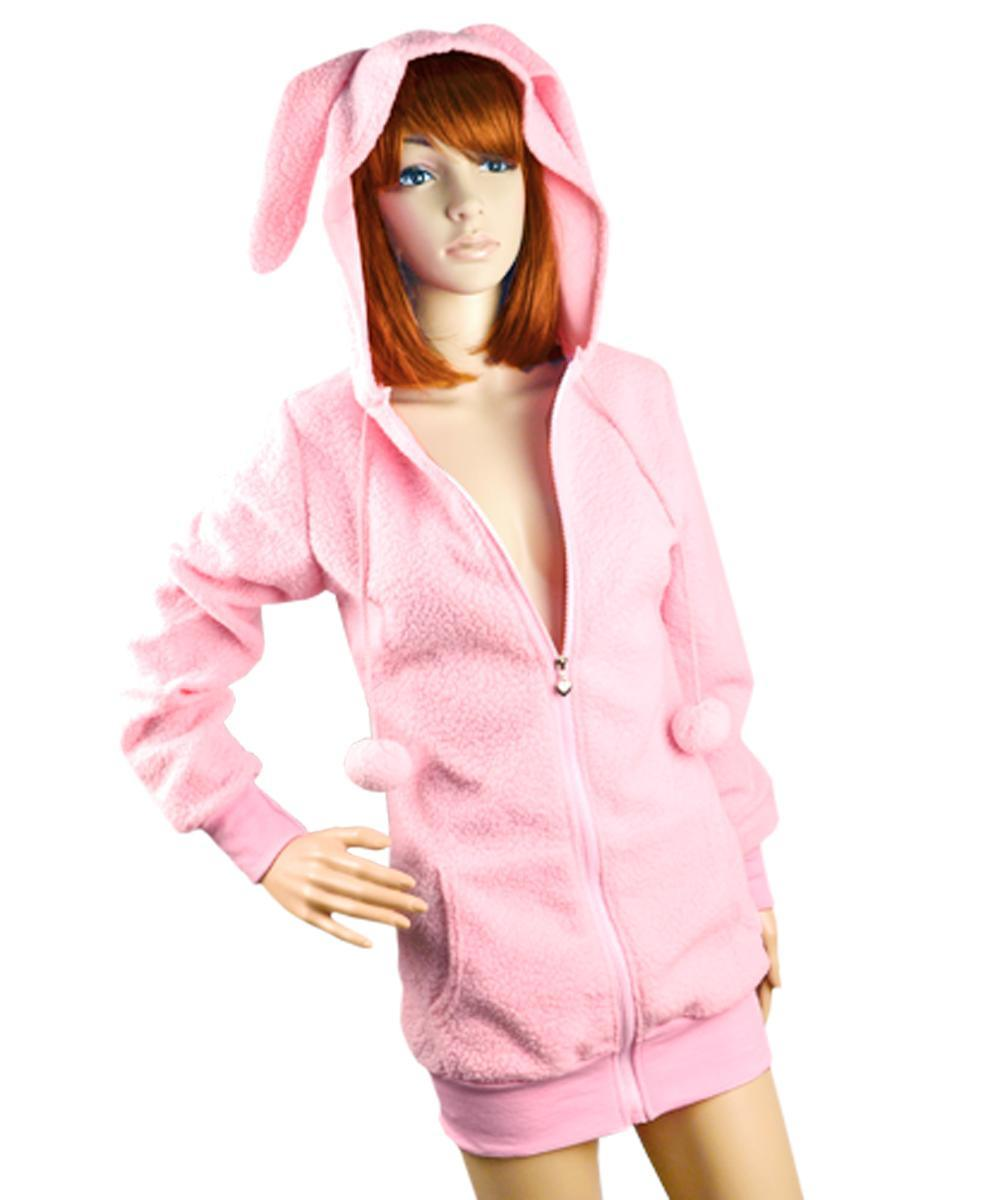 New Cute Women Bunny Ears Warm Sherpa Hoodie Jacket Coat ...