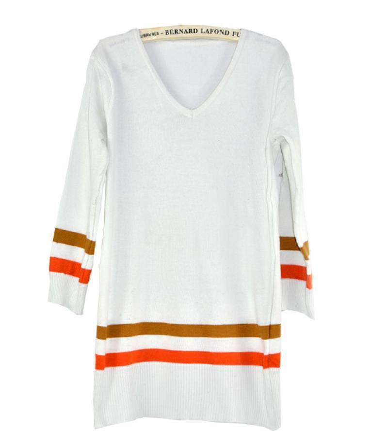New women tops shirts v neck three quarter length sleeve for Three quarter length shirt