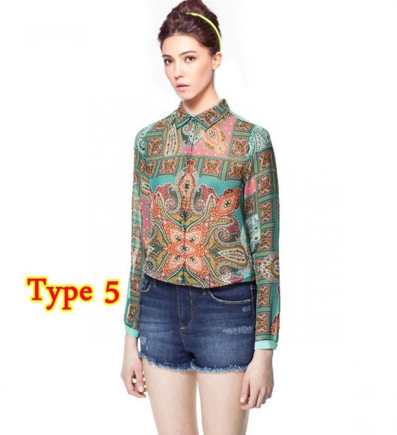 5 Type Women Lady Long Sleeve Chiffon Shirts Blouse T