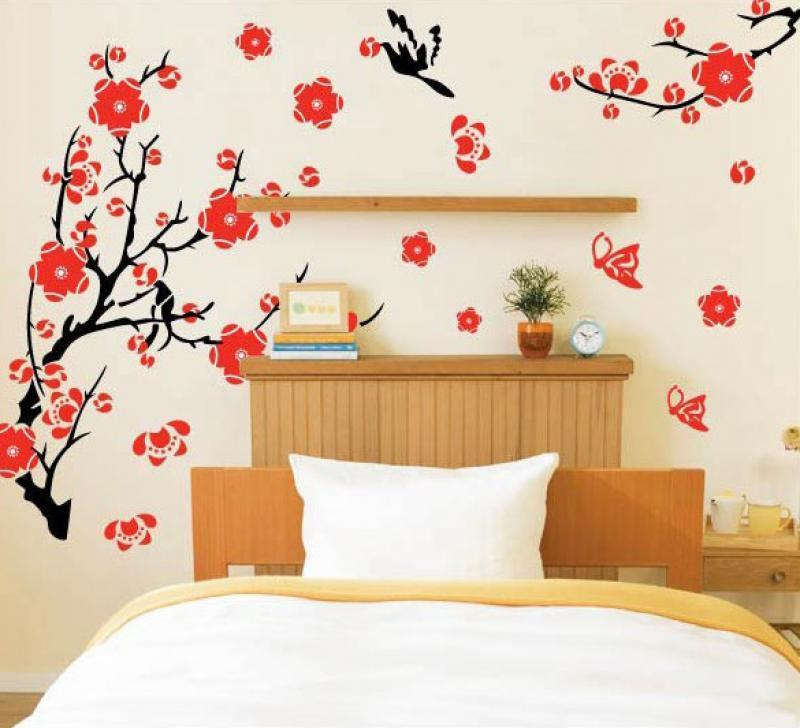 Wall sticker flowers butterfly removable decal art diy home decor wall decal pvc ebay - Stickers voor behang ...