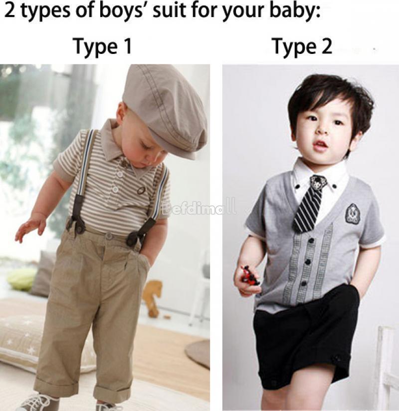 2 Types Baby Boys Short Clothes Suits SET Kids Gentleman T
