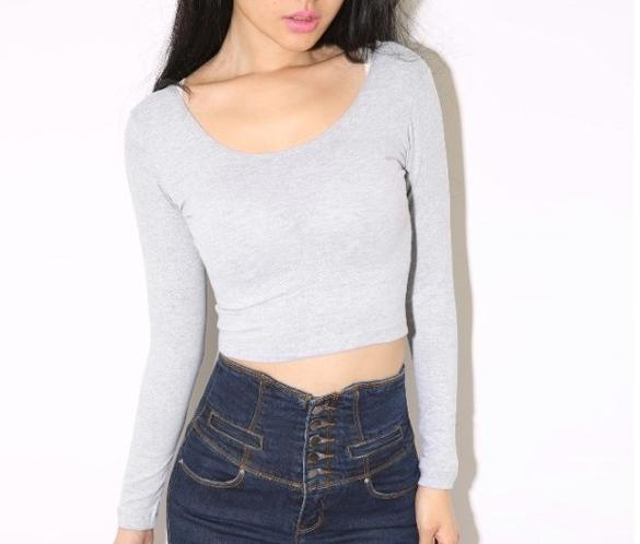 Sexy crop top tee blouses t shirts tops woman long sleeve for Tight t shirt crop top