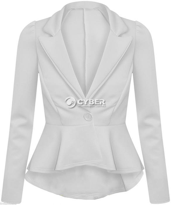 Blazers Box Office: Womens Crop Top Frill Shift Fitted Coat Peplum Cardigan