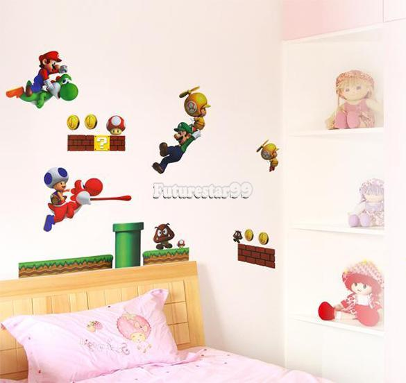 super mario bros wandsticker wandtattoo cartoon kinderzimmer wand aufkleber ft ebay. Black Bedroom Furniture Sets. Home Design Ideas