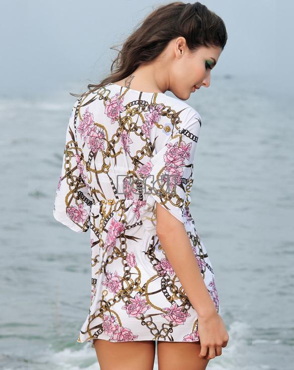 ... Women Sexy Cool Patterned Summer Beach Dress Kaftan Smock Top BF00