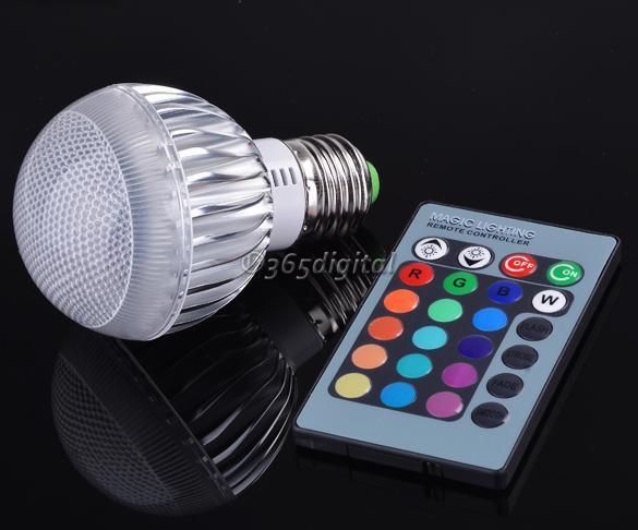 E27 9w rgb luz led colores cambio bombilla 85 265v con - Luz con mando a distancia ...