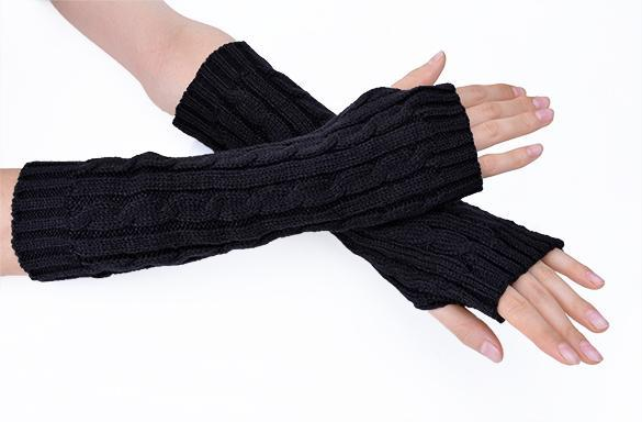 Half Size Warmer ~ Women s arm warmers long gloves hand knitted half warmer