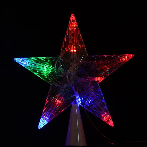 Battery powered colorful led christmas tree topper star for Decoration exterieur led