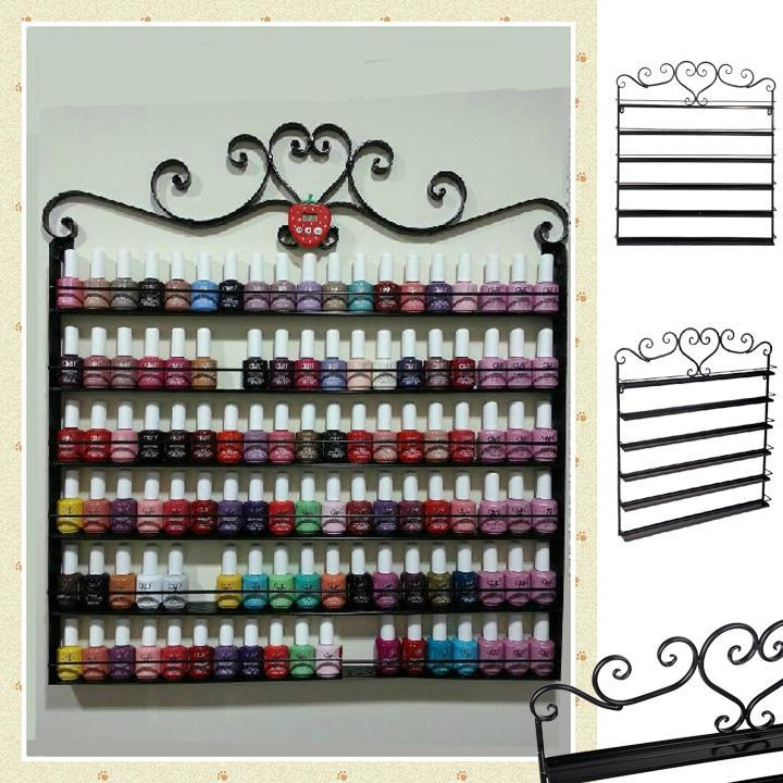 black wire metal nail polish display hanging wall rack