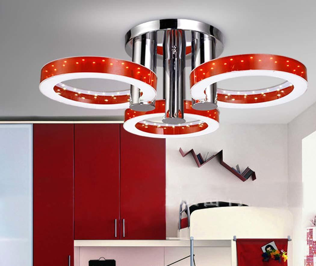 Red Acrylic Chandelier: Modern LED Red Embedded Lamp Light Ceiling Pendant Lamp
