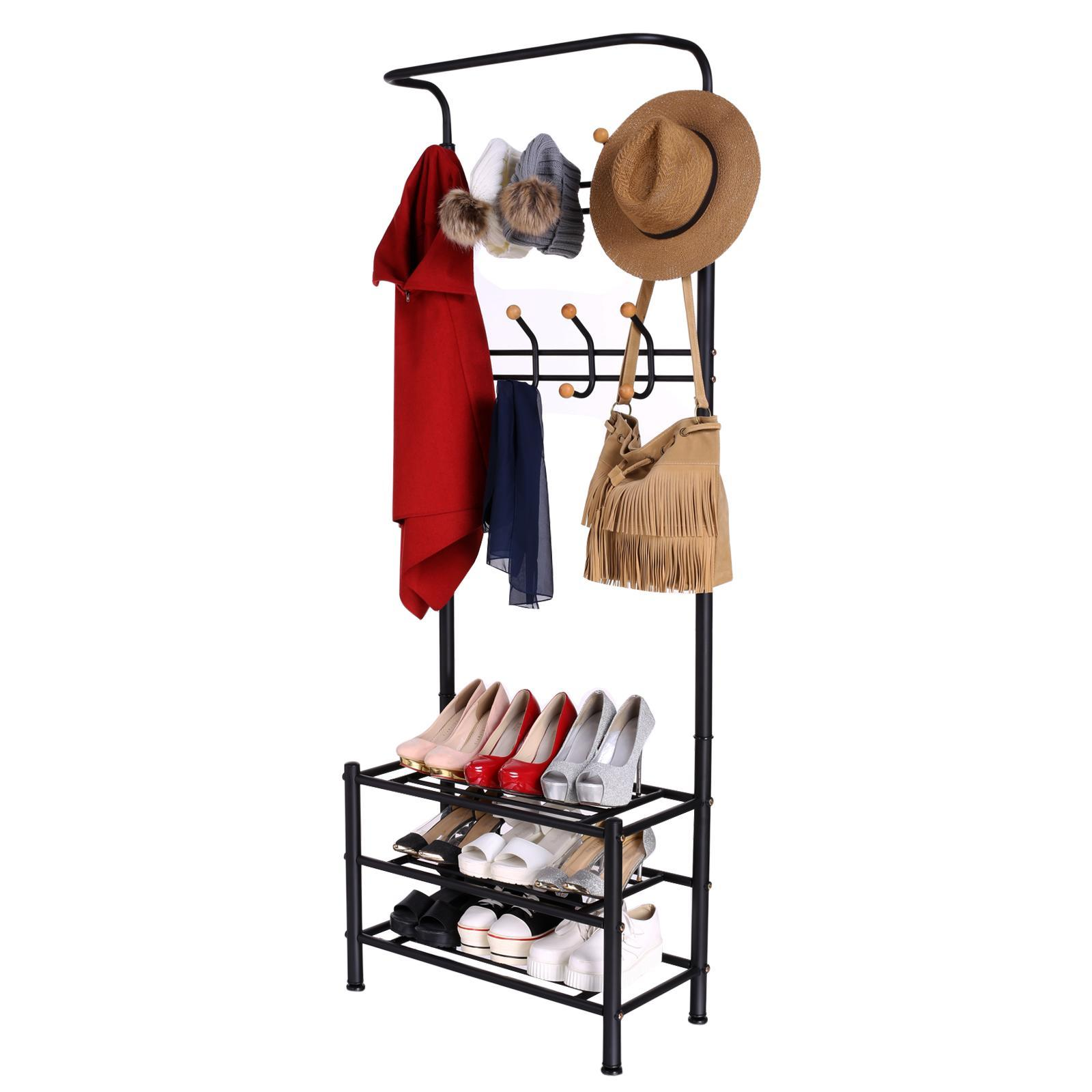metal entryway hall tree shoe storage umbrella hat coat rack stand organizer usa. Black Bedroom Furniture Sets. Home Design Ideas