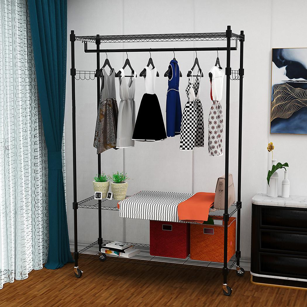 single rod black gray clothing garment rack heavy duty 3. Black Bedroom Furniture Sets. Home Design Ideas