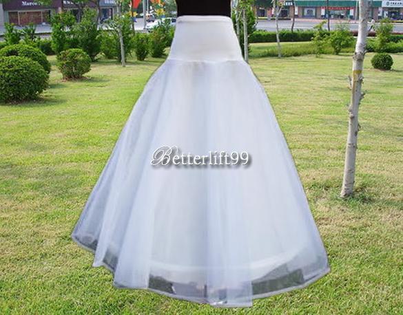 Wedding Bridal Dress 1 Hoop A Line Petticoat Crinoline Slip Underdress White BF