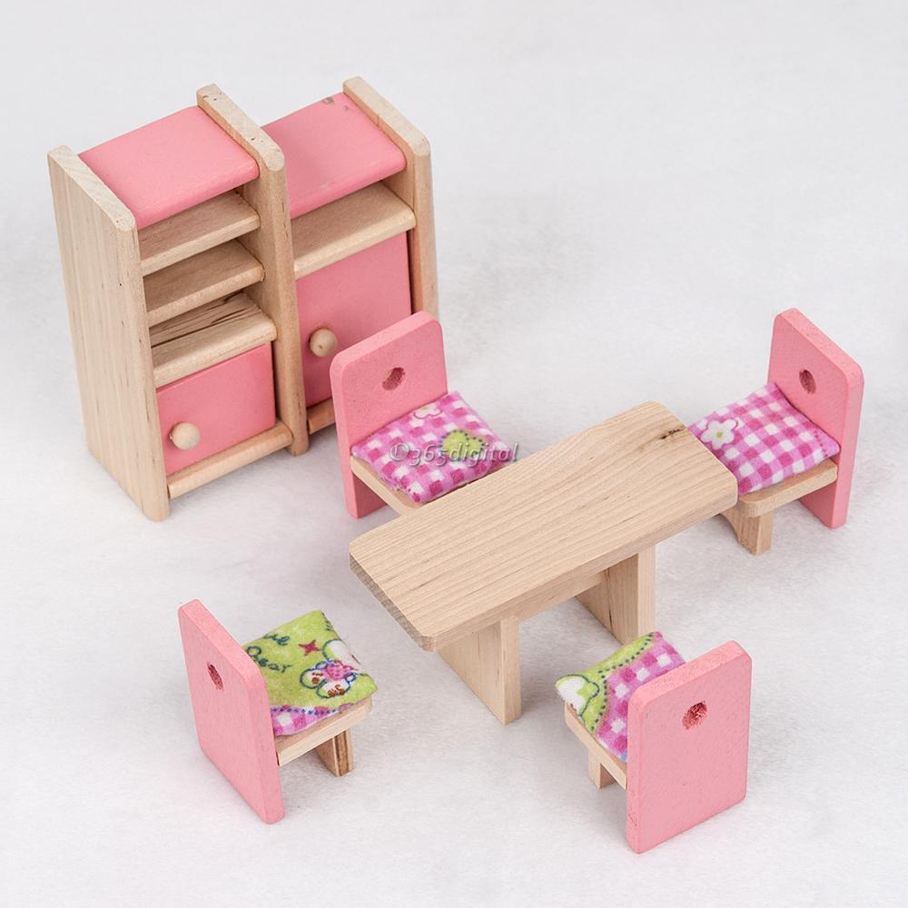 Children Wooden Furniture Dolls House Miniature Dinning Room Set Learn Toys 35di Ebay