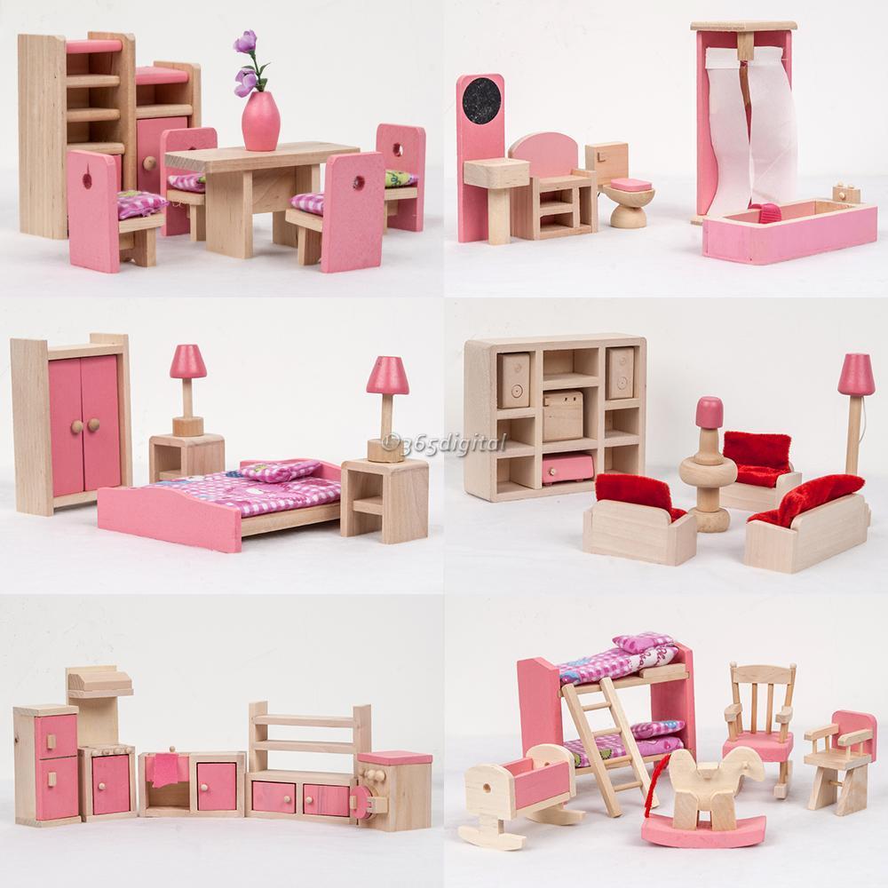 Kinder holzm bel puppenhaus miniatur esszimmer zimmer set lern spielzeug 35di ebay - Esszimmer holzmobel ...