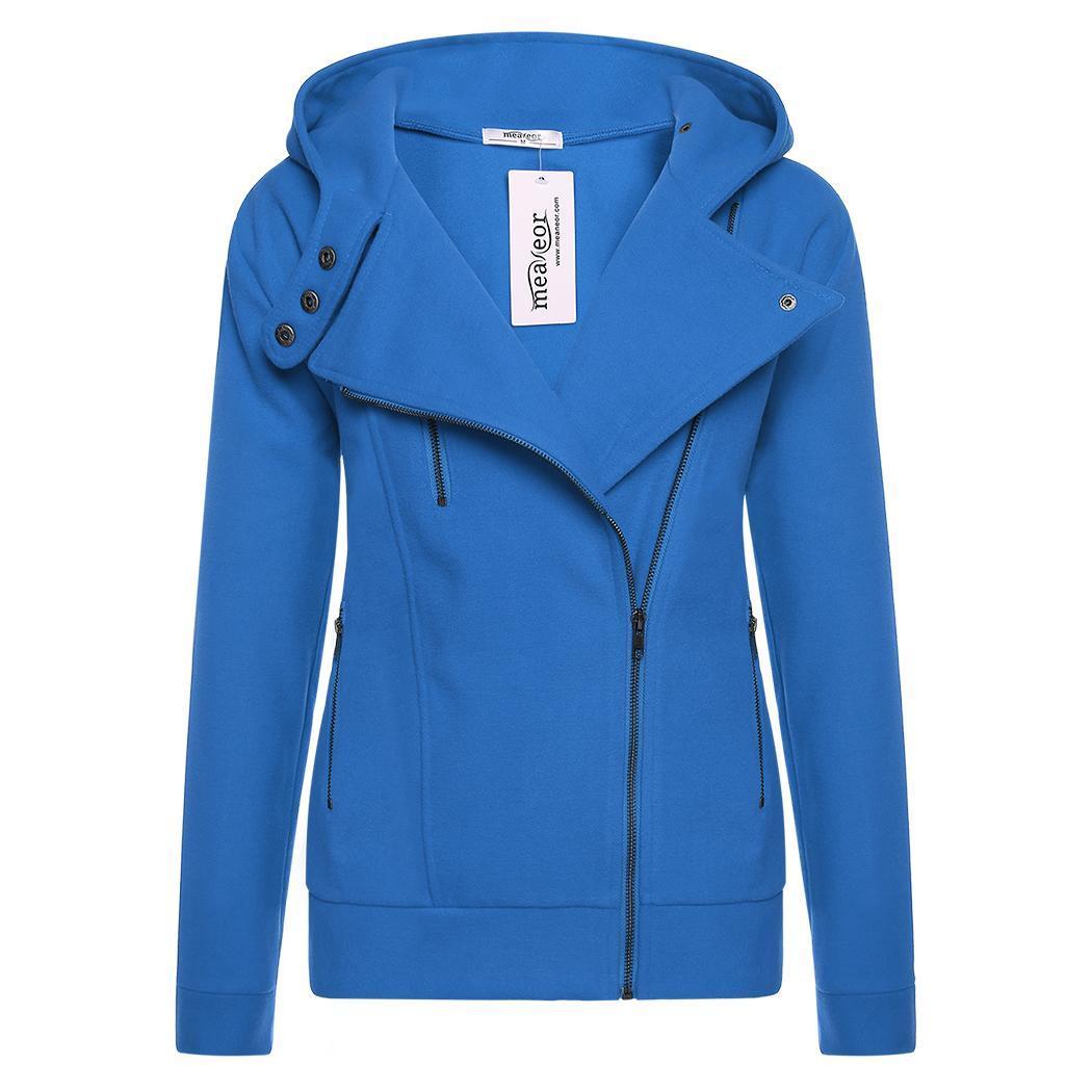 Meaneor femmes mode Sweats zippé à capuche laine Blend manteau solide chaud occasionnels