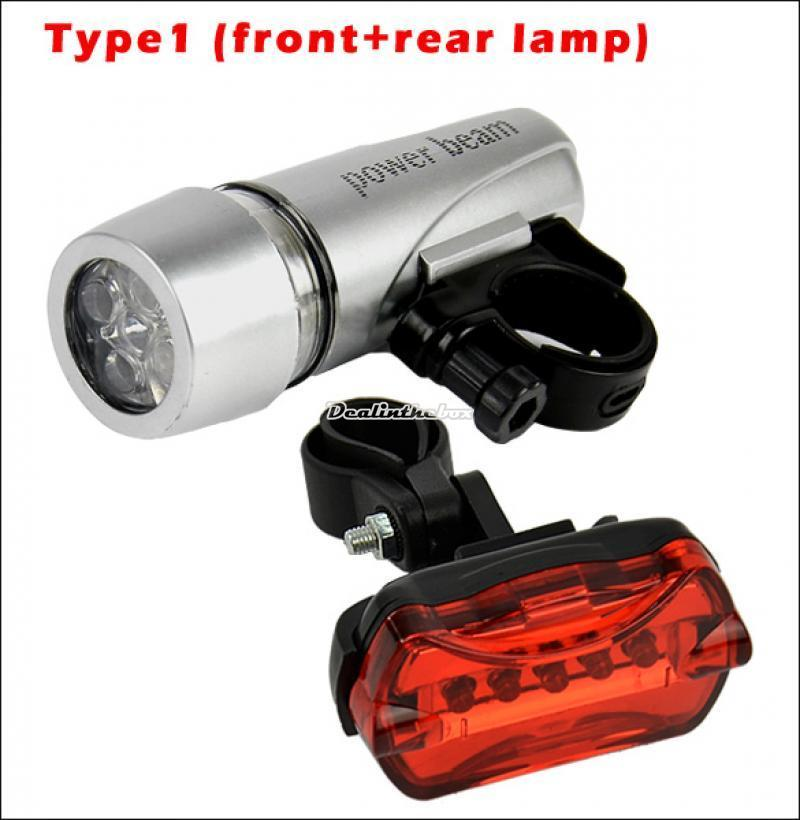 Bike Head Light +Rear Safety Flashlight /4 Types Bicycle ...