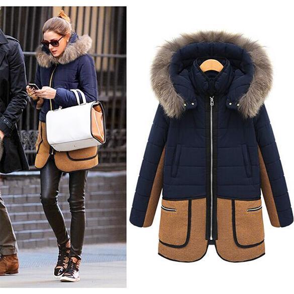 nouveau hiver femme chaude fourrure col manteau long dwn. Black Bedroom Furniture Sets. Home Design Ideas