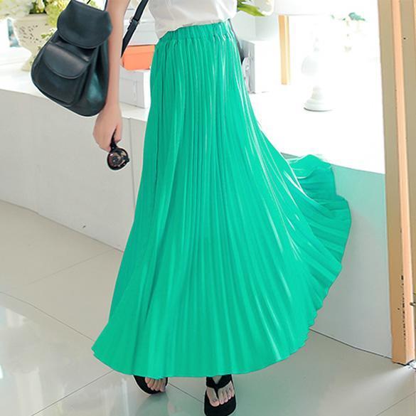 Sommer sexy damen chiffon lang maxi kleid plissee elastische taillen rock kleid ebay - Plissee kleid lang ...