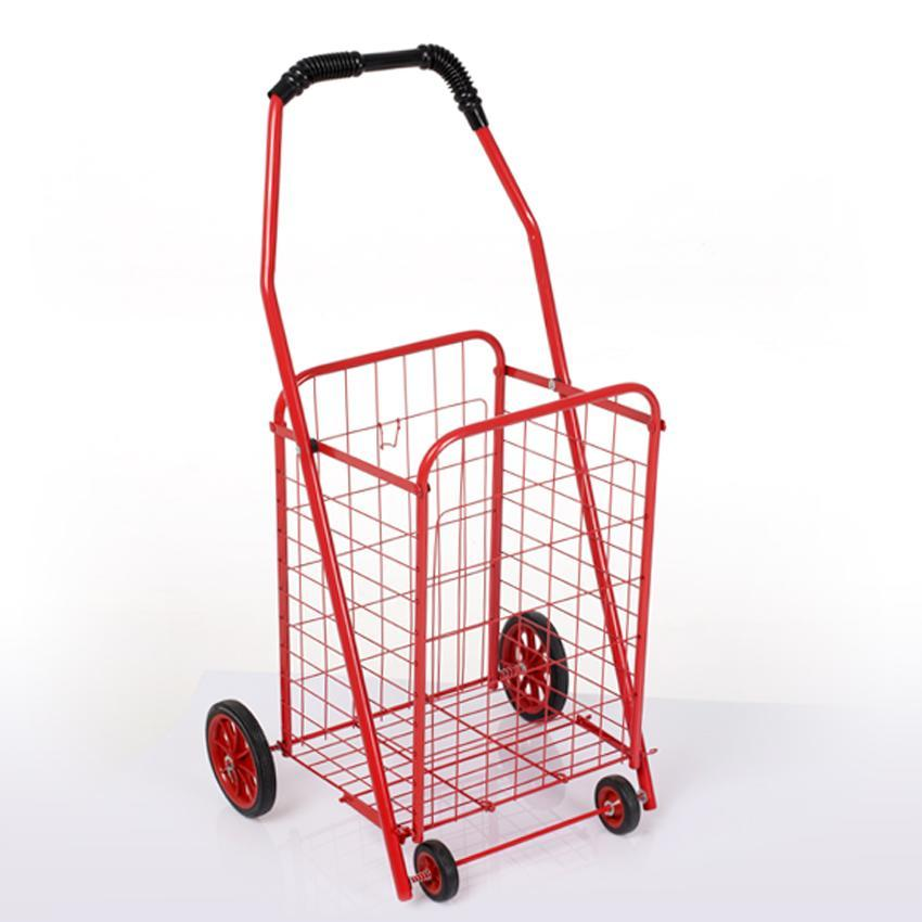 Folding shopping cart basket grocery laundry travel trolley with 4 rolling wheel ebay - Collapsible laundry basket with wheels ...