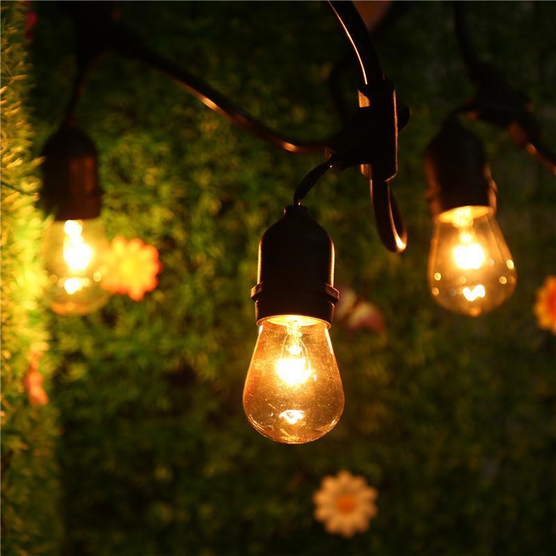 Outdoor String Lights With 15 E26 Sockets By Deneve : 48 Foot E26 String Lights-Commercial Grade String-15 Hanging Socket&Bulbs EH7E eBay