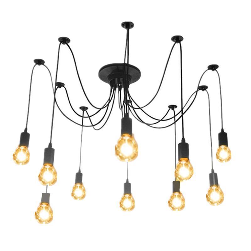 Industrial E26 Warm White -10 Head Lamp Spider Chandelier/15 Bulbs String Light eBay