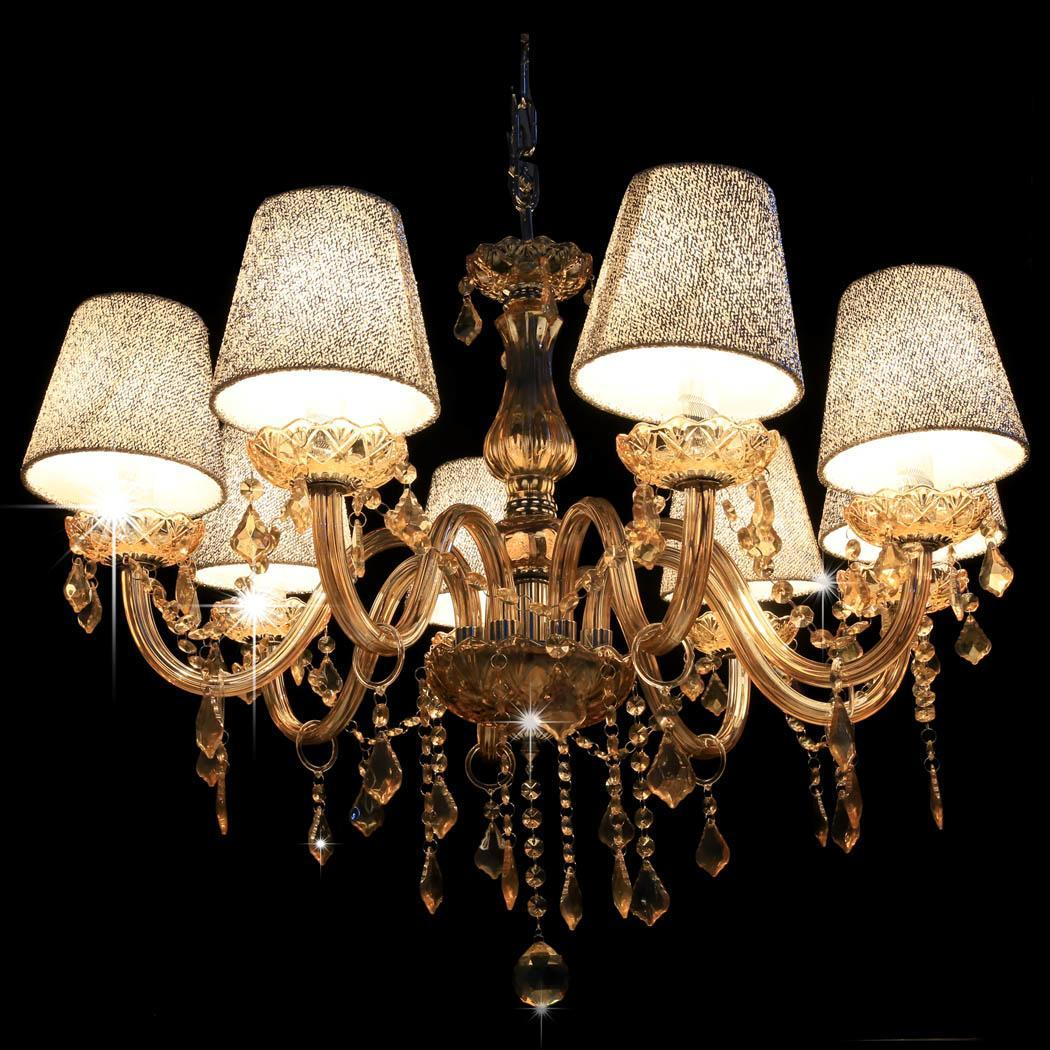 Dining room crystal chandelier 4 6 8 light silver pink barrel shape pendant lamp ebay - Crystal chandelier for dining room ...