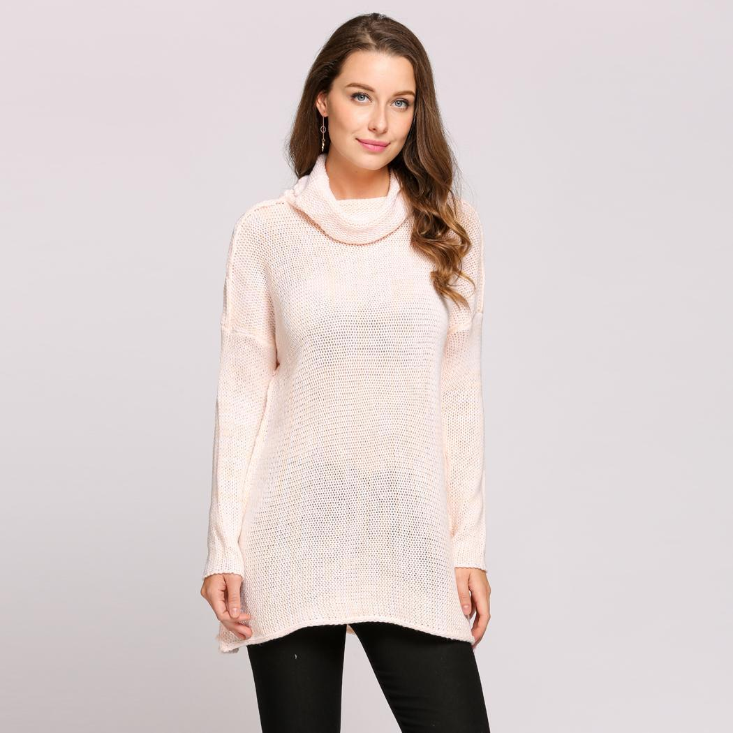 a7b71ccc8f4 Vêtements Femme Pull Long Col Manches Longues Casual Pullover Lâche ...