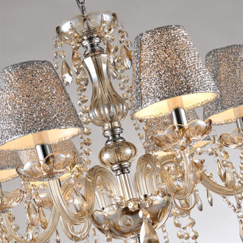 6 lights crystal chandelier light pendant lamp ceiling iron 5 light chandelier with beige shades 11738256
