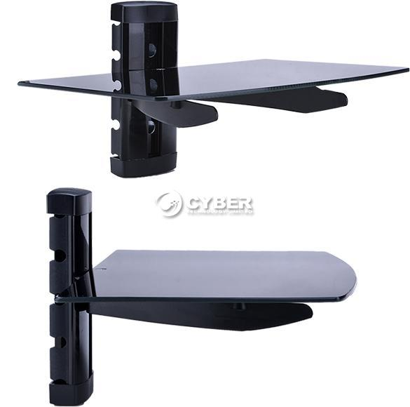 glass shelf wall mount bracket under tv lcd dvd bluray. Black Bedroom Furniture Sets. Home Design Ideas