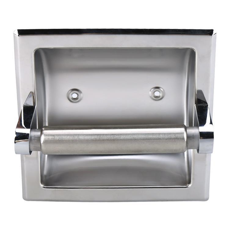 Recessed bath chrome stainless steel toilet paper holder roll tissue box gs8d ebay - Ceramic recessed toilet roll holder ...
