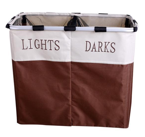 Foldable double laundry basket 2 sided laundry sorter lights and darks sale ebay - Laundry basket lights darks colours ...