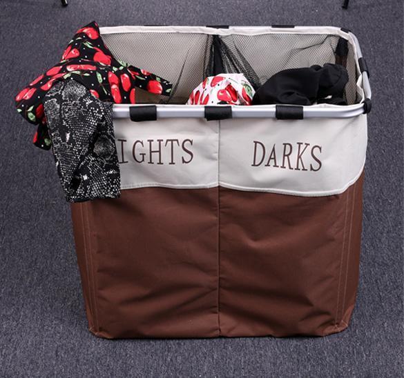 Folding laundry sorter hamper 2 bin bags section basket clothes lights darks usa ebay - Laundry basket lights darks colours ...