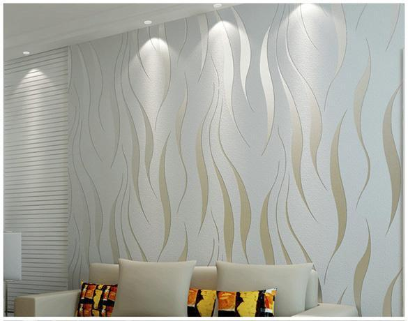10M Home Bedroom Improvement Non Woven Luxury 3D Wave .