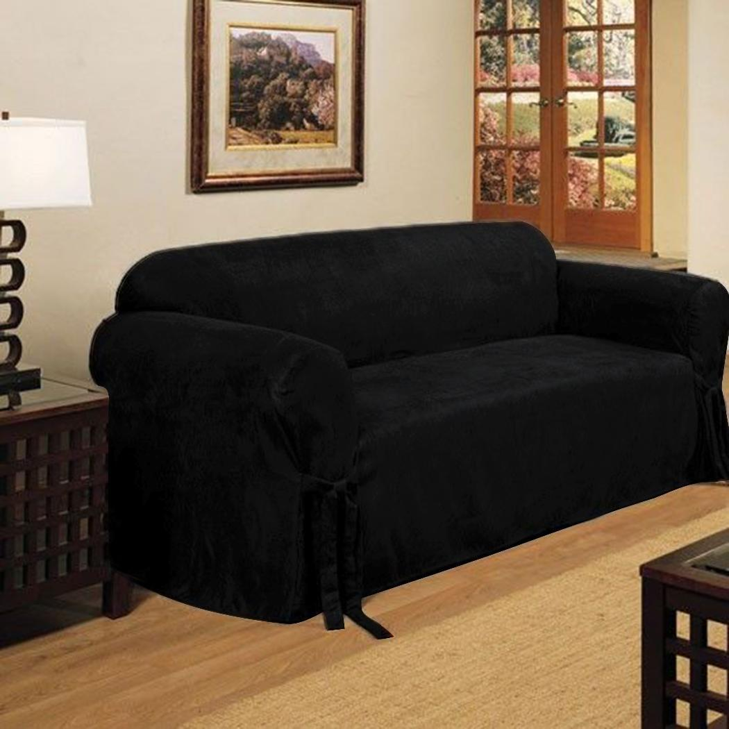2 micro suede black soft couch loveseat sofa cover pad for Suede couch