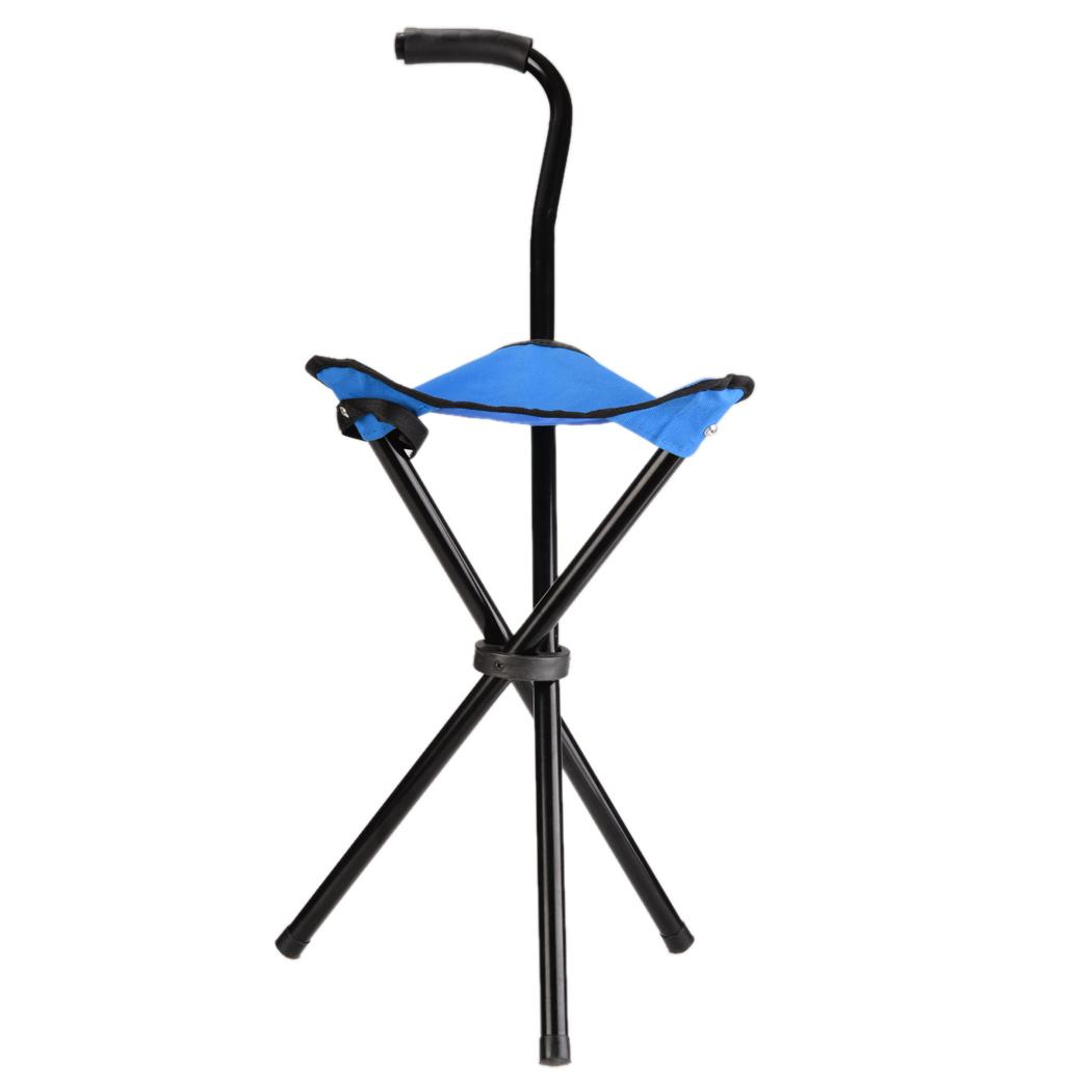 Folding Walking Stick Cane Soft Seat Chair Travel Camp