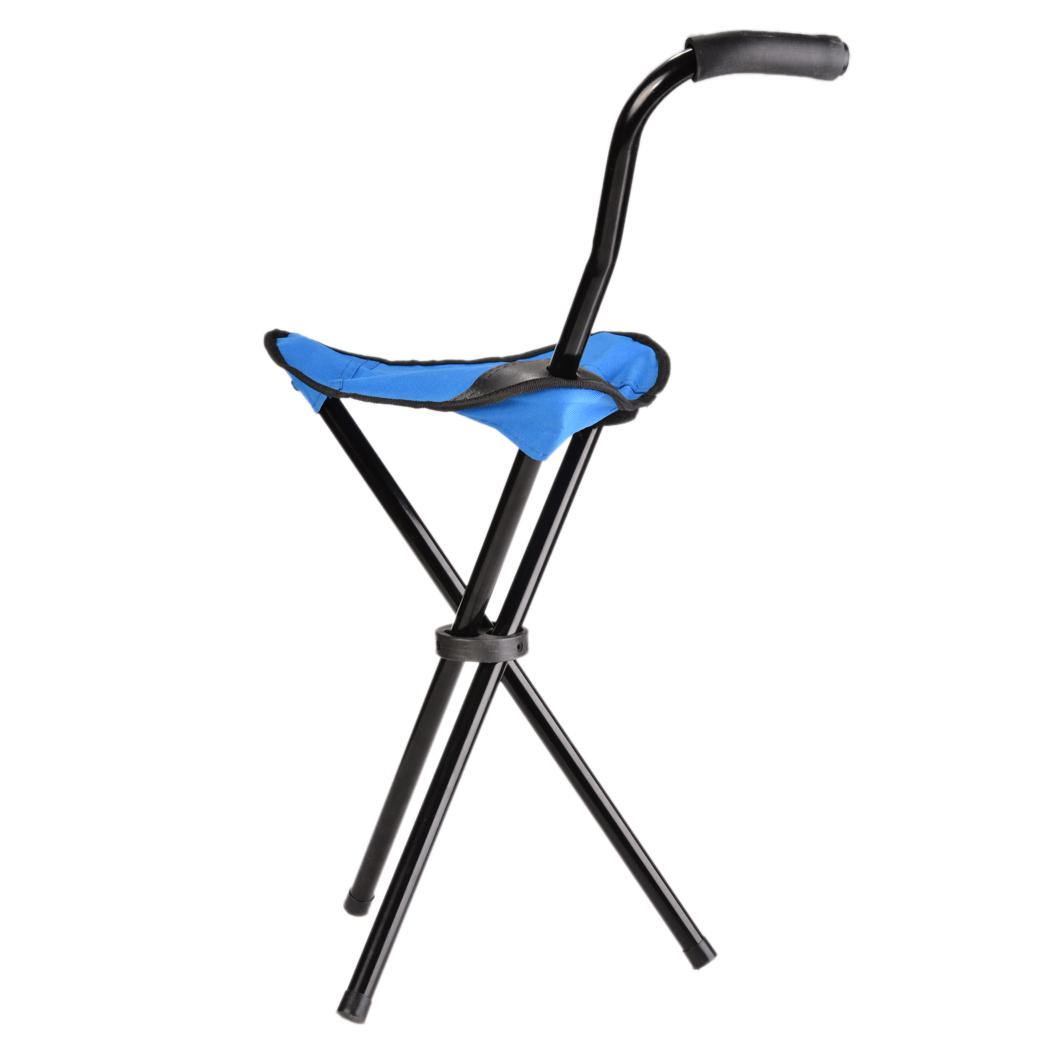 Folding Walking Stick Cane Soft Seat Chair Travel Camp Tripod Stool Heavy Duty
