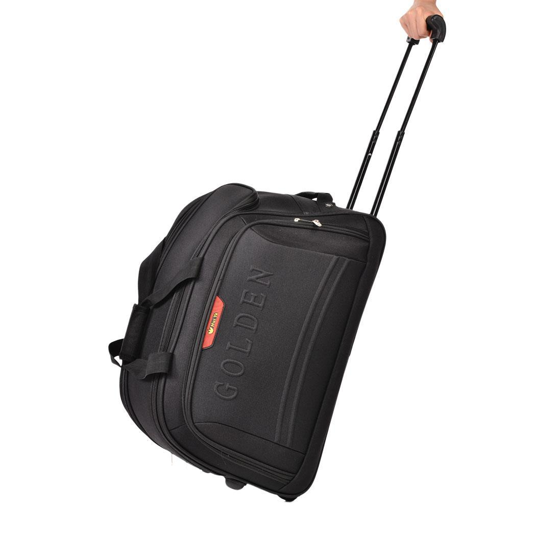 55l rolling wheeled black travel cargo duffle bag suitcase tote gym carry on us ebay. Black Bedroom Furniture Sets. Home Design Ideas
