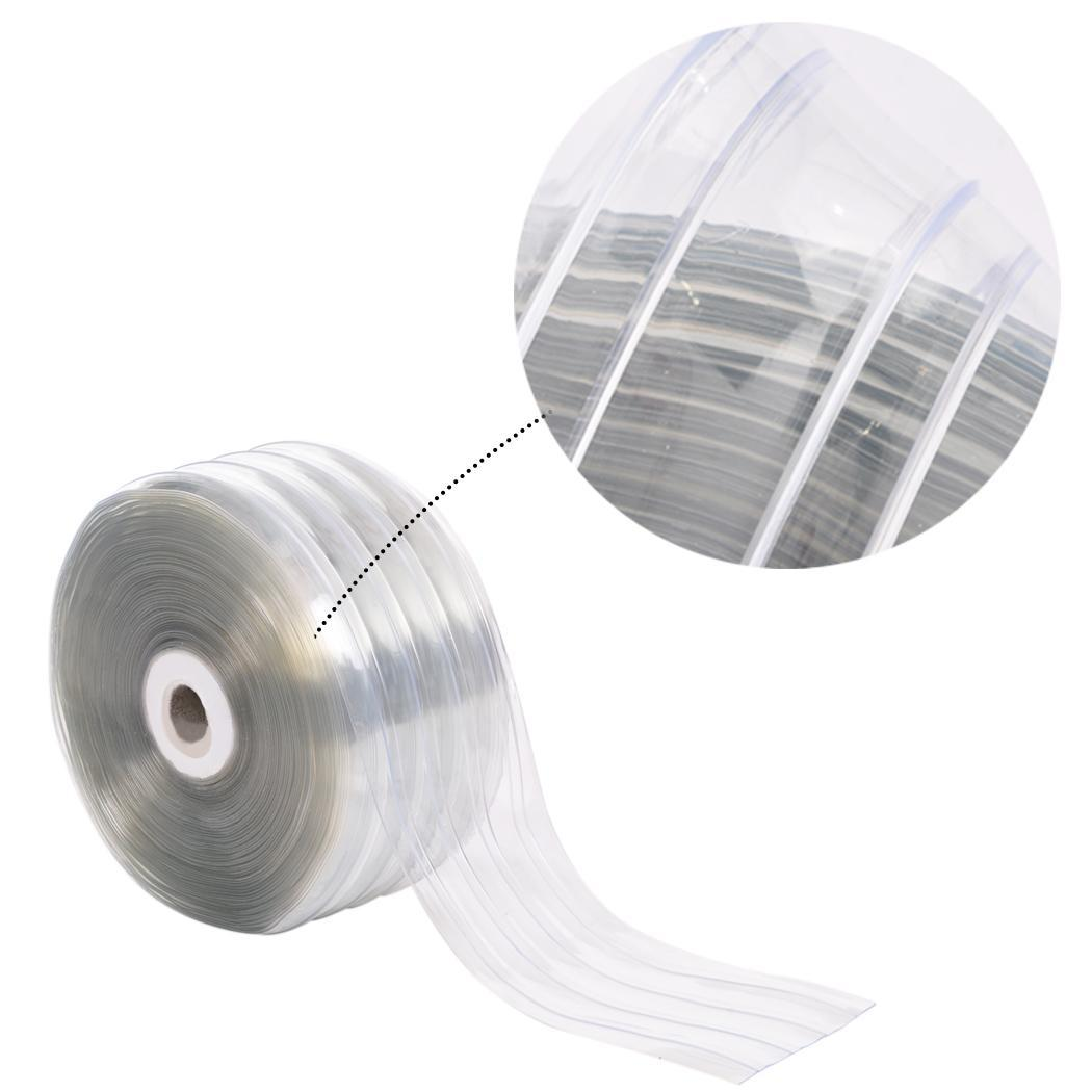 Transparent Ribbed Pvc Plastic Strip Curtain Walk In Coolers Clean Rooms Outdoor Ebay