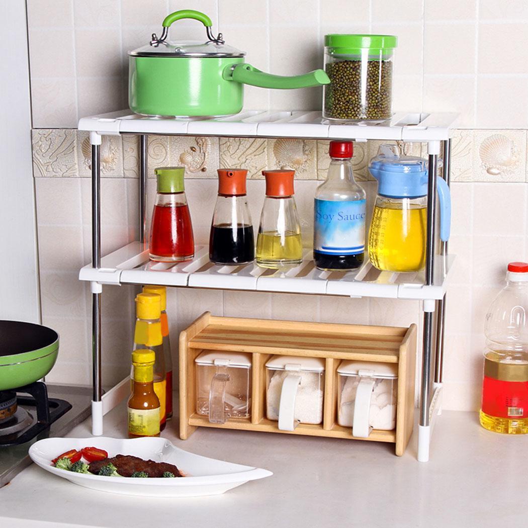 Kitchen Sink Shelf Organizer: Expandable Under Sink Shelf Cabinet Storage Kitchen
