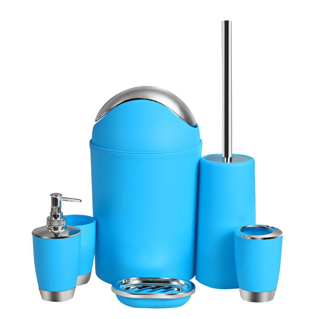 1 set series bathroom accessories 6pc bath soap dish for Blue bathroom bin