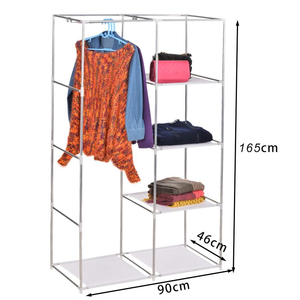home diy portable closet storage organizer wardrobe clothes rack w shelves pink ebay. Black Bedroom Furniture Sets. Home Design Ideas